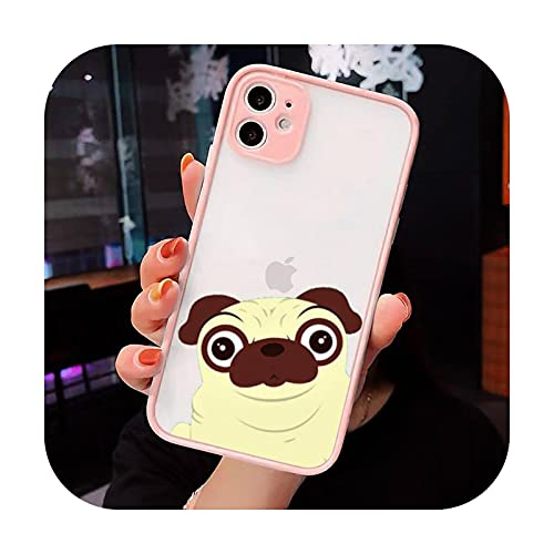 Francés Bulldog Pug Dog Lindo mascotas Teléfono Carcasas mate transparente para iphone 7 8 11 12 plus mini x xs xr pro max cover-a8-iPhone12pro max