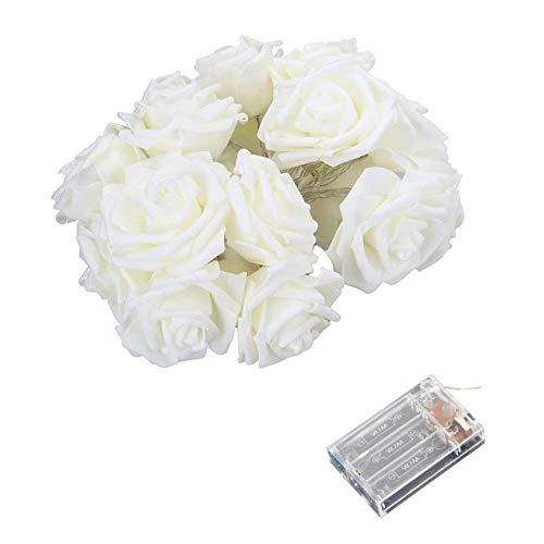 Phoeni Blume Lichterkette Rosen Licht Romantische Innen Beleuchtung 6M 40LEDs Batteriebetriebene Twinkle Rosenlichterkette Dekoration für Hochzeit Geburtstag Valentinstag Paty Rosenblütenkette