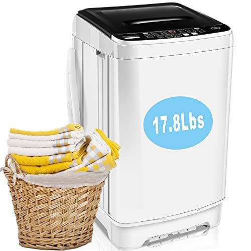 Portable Washer Nictemaw 17.8Lbs Capacity Full-Automatic Washer Machine 1.9 Cu.ft 2 in 1 Compact Laundry Washer with Drain Pump/10 Programs 8 Water Level Selections/LED Display