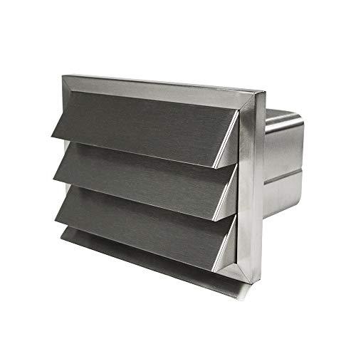 EASYTEC Außenjalousie | eckig für Flachkanal 180 x 95 mm | Edelstahl gebürstet mit Rückstauklappe aus Metall - Mauerkasten Abluftjalousie Lüftungsgitter Abluftgitter (entspricht Ø 150 mm)