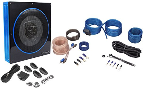 "Price comparison product image Rockville RW10CA 10"" 800 Watt Under-Seat Slim Amplified Car Subwoofer +Wire Kit"