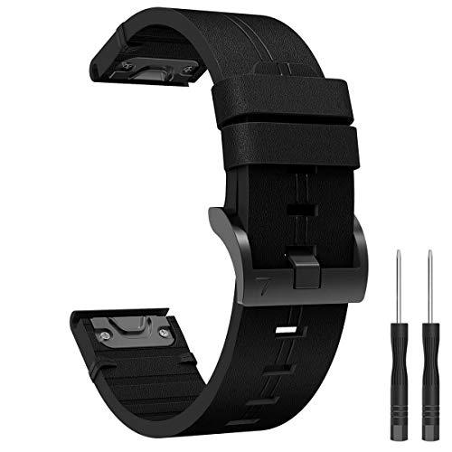 Syxinn Compatible con Fenix 6X/Fenix 6X Pro Cuero Correa de Reloj, 26mm Banda de Genuino Cuero de Reemplazo Deportiva Pulsera para Fenix 5X/Fenix 5X Plus/Fenix 3/Fenix 3 HR Smart Watch