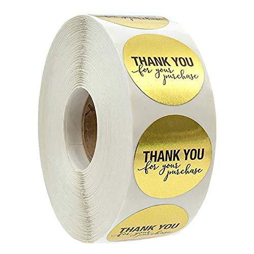 ZXXC 500 unids/Rollo de Pegatinas Doradas de Agradecimiento, álbum de Recortes para Etiquetas de Sello, Embalaje de Regalo de 1 Pulgada, Sellos de Sobres de Boda, Adhesivo de papelería