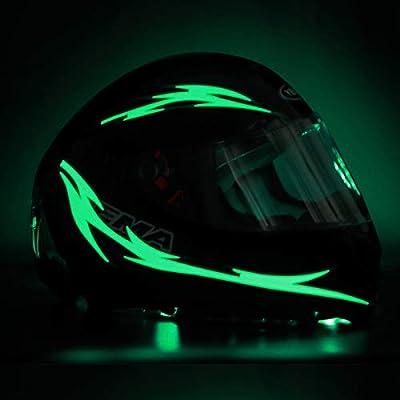 Unique Flame Shape 4PCS Rechargeable Motorcycle Helmet Light, Night Riding Signal Helmet EL Light, 3 Mode Led Helmet Light Strip Decoration Accessories Kit for Motorcycle, Bike Helmet (Green) by JIGUOOR
