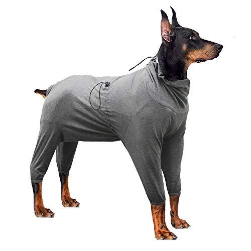 Dotoner Thunder Shirts für Hunde, für chirurgische Hunde, langärmelig, schützt den Hund vor Lecken, Wundschutz, E-Kragen, Alternative nach Operationen(Grau,XS