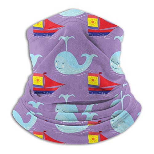 Lawenp Bufanda de cara cálida de orejas de clima frío con patrón de ballena y velero para hombres y mujeres
