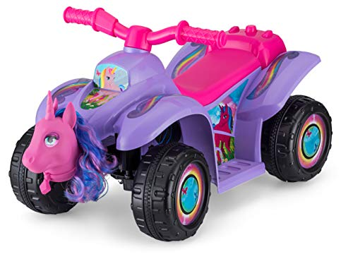 Kid Trax Toddler Unicorn Quad Kids Ride On Toy, 6 Volt Battery, 1.5-3 Years Old, Max Weight of 44 lbs, Single Rider, Purple (KT1561AZ)