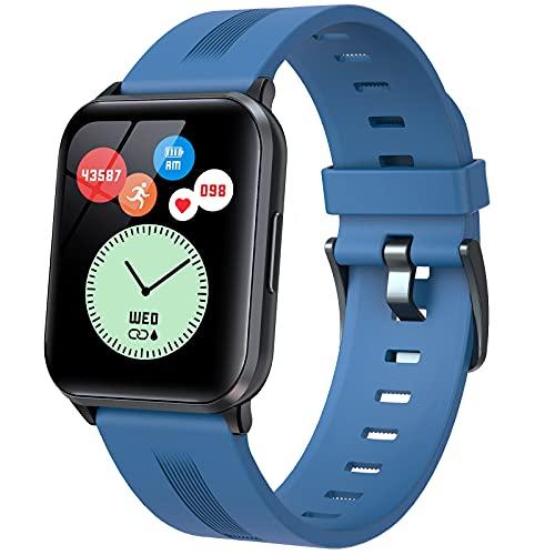 QFSLR Smartwatch Reloj Inteligente Impermeable IP68, con Monitor De Frecuencia Cardíaca Monitoreo De Oxígeno En Sangre Monitoreo De Temperatura De Reloj Inteligente para Android iOS,Azul