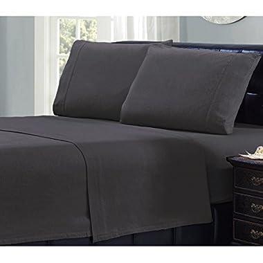 Mellanni 100% Cotton 4 Piece Flannel Sheets Set - Deep Pocket - Warm - Super Soft - Breathable Bedding (Queen, Gray)