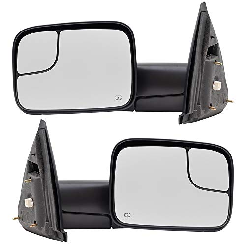 Replacement Set Driver and Passenger Power Side Trailer Tow Flip-Up Mirrors Heated Compatible with 2002-2008 Ram 1500 Pickup Truck 55077445AO 55077444AO