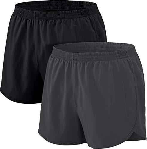 ATHLIO Men's Running Shorts, 3 Inch Quick Dry Mesh Jogging Athletic Shorts, Gym Training Workout Shorts with Pockets, 2pack(cbh23) - Black/Dark Grey, Medium