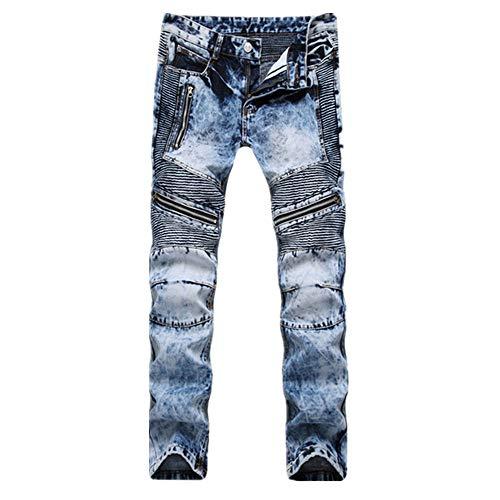 N\P Jeans de los hombres Jeans de color claro solapa denim pantalones plisados slim fit Denim
