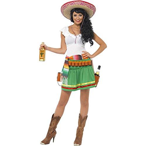 Smiffys, Damen Tequila Shooter Girl Kostüm, Kleid, Gestreifter Gürtel und Gürtel mit Holster, Größe: S, 29132