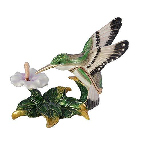 NOBRAND Colibrí En Flor Estaño Cristales de Aleación de Metal Bejeweled Baratija Joyero Figuritas de Aves