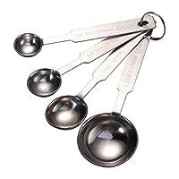 ounona set di 4 cucchiai dosatori da cucina, in acciaio inossidabile, di diverse dimensioni, colore argento