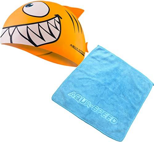 Aqua Speed - Set Shark Niños Gorro de baño + Toalla de...