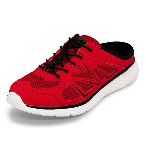 LEKANN No.314 Damen Herren| Sabot Pantoletten Slipper Sneaker Clogs | Leicht Atmungsaktiv | Rot/Schwarz Gr. 43 EU