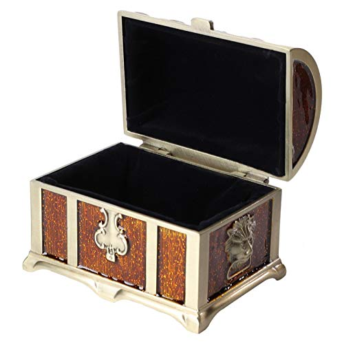 Estuche de almacenamiento de joyas estilo retro medieval vintage para escritorio, sala de estar(Epoxy brown)