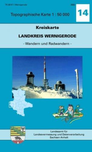 Landkreis Wernigerode: Kreiskarte 1:50000 - Ausgabe mit Wander- und Radwanderwegen