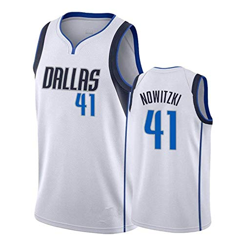Dirk Werner Nowitzki Basketballtrikot, Dallas Mavericks # 41 Herren Basketball Fan Trikot Atmungsaktives Besticktes Mesh Basketball Swingman Trikot White-XL