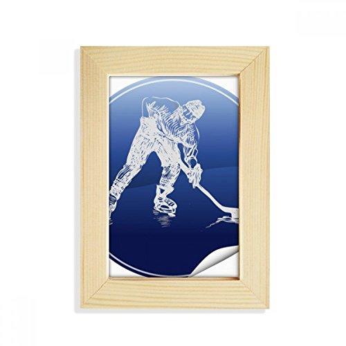 DIYthinker Wintersport Eislauf und Eishockey Aquarell Desktop-HÖlz-Bilderrahmen Fotokunst-Malerei Passt 10.2 x 15.2cm (4 x 6 Zoll) Bild Mehrfarbig