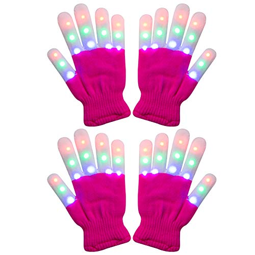 Amazer 2 Pack Kids Light Gloves Children Finger Light Flashing LED Warm Gloves with Lights for Birthday Party Christmas Xmas Dance Gifts for More Fun- Magenta