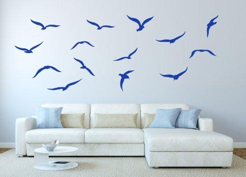 Lot de 14 Mouettes Oiseau Autocollant Mural Décoration Graphique Mural Salle à Manger Chambre - Bleu Mat