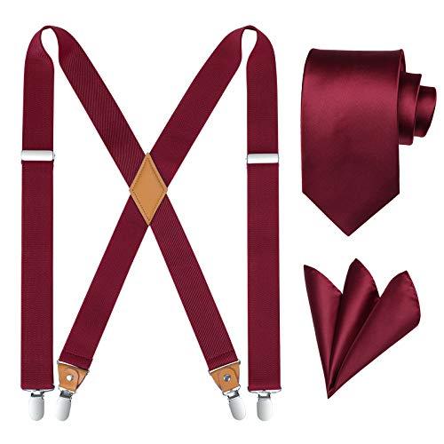 HISDERN Tirantes para hombre X Forma Tirantes y Corbatas Set con 4 Clips Fuertes Elásticos Longitud Adjustable para Pantalones Tuxedo Borgoña