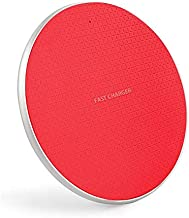 Fast Charge Qi Wireless Charging Pad, Wireless Charger for iPhone 11 Pro/11/XS/XR/X/8, Samsung Galaxy S10/9/8/7/6, USB Cable Included, LED Indicator Light, Active Cooling (Red)