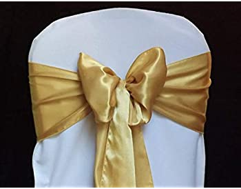 mds Pack of 100 Satin Chair Sashes Bow sash for Wedding and Events Supplies Party Decoration Chair Cover sash -Gold