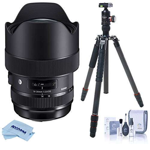 Sigma 14-24mm F2.8 DG HSM Art Wide-Angle Zoom Lens, for Nikon DSLR Cameras (212955) USA Warranty, Bundle with FotoPro X-Go Max Carbon Fiber Tripod with Built-in Monopod, Cleaning Kit