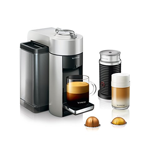 Nespresso by De'Longhi ENV135SAE Vertuo Evoluo Coffee and Espresso Machine Bundle with Aeroccino Milk Frother by De'Longhi, Silver