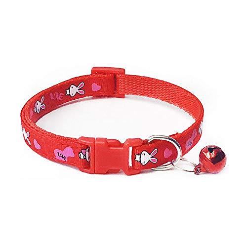 Red Pet Polyester Hondenhalsband, mooie halsketting, halsband met klokjes, huisdieren, kraag, verstelbare halsbanden, voor alle seizoenen, ademend, gezellige, lichte outdoor training H, Small