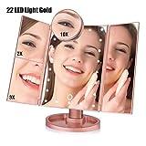 22 Light Touch LED trucco dello schermo dello schermo dello specchio 10 volte più lente di ingrandimento con tocco rotazione di 180 gradi Alimentazione elettrica doppia Dimming Cosmetic Mirror,D'oro