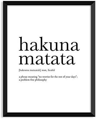 Unframed Hakuna Matata Definition Print Poster Wall Art Decor Room Gift