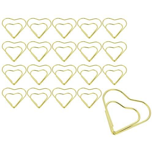 Navaris Büroklammern Herz 20 Stück - 20x Motiv Heftklammern für Dokumente Papier Notizen - als Lesezeichen Halterung - Büro Schule Studium - Gold