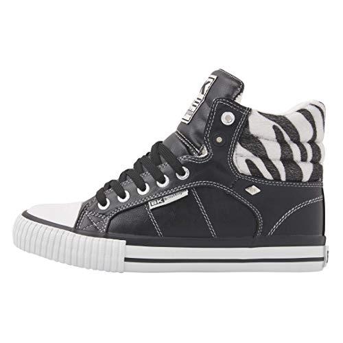 British Knights Damen Atoll Sneaker, Black Zebra, 39 EU
