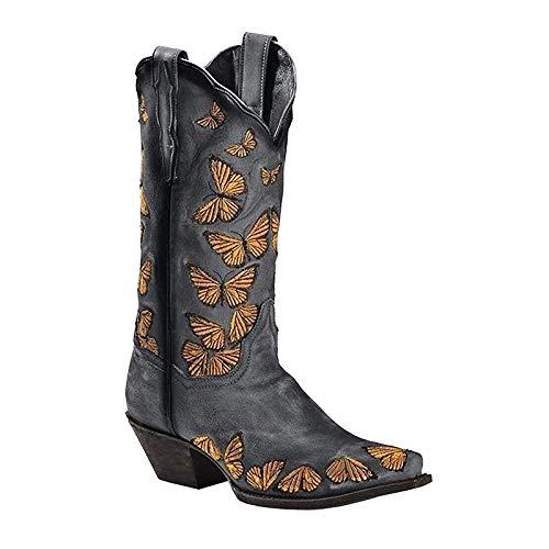 UMore Damen Hohe Stiefel Winter Schuhe mit Absatz Kunstleder Schnalle Langschaft Overknee Stiefel Kniehohe High Heels Lang Boots Langschaft Stiefel