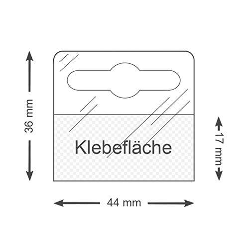 Eurolochaufhänger | Hang Tabs selbstklebend | 36 mm x 44 mm | Transparent | Flexibel | Selbstklebende Aufhänger mit Eurolochung für Lochwand | POS Aufhänger / 100 Stück