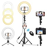 "【Adjustable 10"" Larger Ringlight】with dimmable led bulbs, selfie ring light with stand provides more brightness light and broader shooting for your photography/ live streaming than others. Circle light 10 levels brightness and 3 light tunes ( warm, n..."