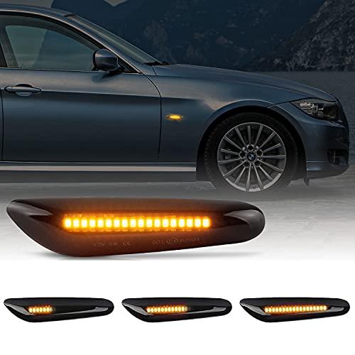 OZ-LAMPE LED Seitenblinker, 18 SMD Rauch Linse OE-Buchse Dynamische LED Signal Licht mit Nicht-Polarität, Blinklicht für E46 E36 E90 E60 E81 E82 E87 E88 E92 E93 E83 E53 (Bernstein, 1Paar)