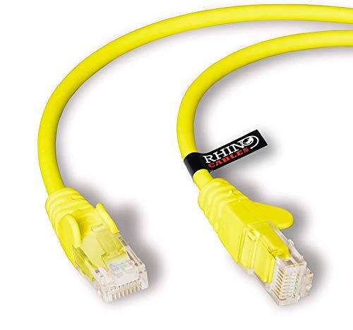 rhinocables Netzwerkkabel, Ethernet, Lan & Patch Kabel, RJ45 Molded Cat5e Verlegekabel Patchkabel für: UTP - Switch Router - Modem - Patchpannel - Access Point – Patchfelder (10m, Gelb)