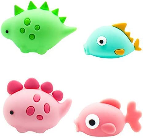 Cable Bites Marine Animals 4 Pack Fish Data Cord Line Charger Protector Cable Buddies Compatible for iPhone USB Cable Saver Chewers Cable Bite Cute Creative Gift Phone Accessory Adorable Desk Decor