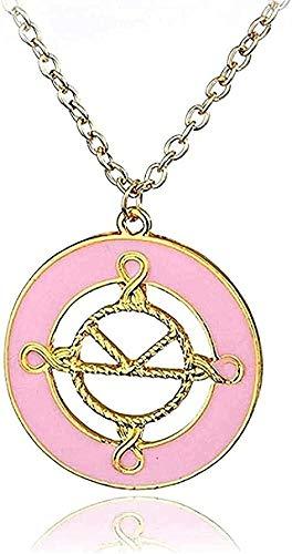NC110 Collar para Mujer, Collar con Dije de Esmalte Rosa, Collar con Colgante del Servicio Secreto para Mujer, Accesorios, Collar, Regalo