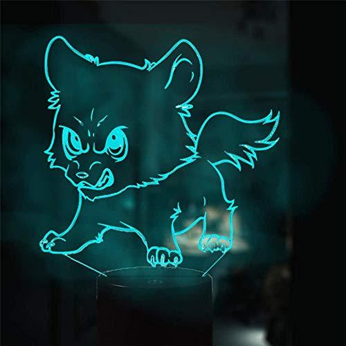 Luz nocturna 3D para niños, lámpara de noche con cambio de 16 colores con mando a distancia, lámpara de noche para niños y perros adultos