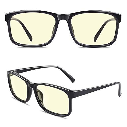 CGID CT12 Gafas para Protección contra Luz Azul, Anti Fatiga por Deslumbramiento, Previene Dolores de Cabeza o Fatiga Visual, Gafas Seguros para Computadora/Celular,Vintage Rectangular Negro