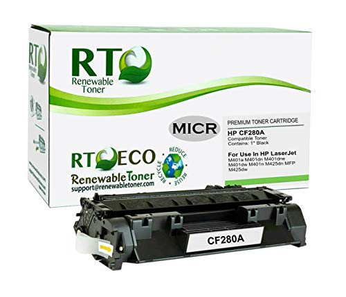 Renewable Toner Compatible MICR Toner Cartridge Replacement 80A CF280A for use in HP LaserJet Pro 400 M401 M425
