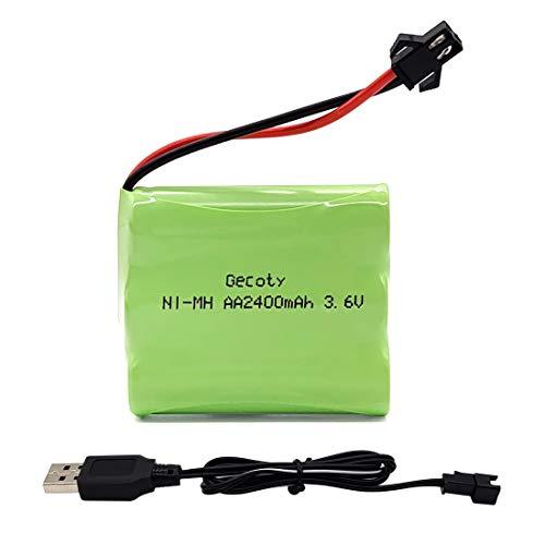 Gecoty® 3,6V Akkupack, NI-MH AA-Akku, 2400mAh wiederaufladbarer Batterie, mit USB-Ladekabel und SM 2P-Stecker für Ferngesteuertes Spielzeug, Elektrowerkzeuge, Haushaltsgeräte