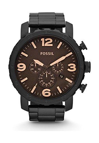 Fossil - Nate Chronograph Reloj Negro para Hombre con baño de Iones -JR1356