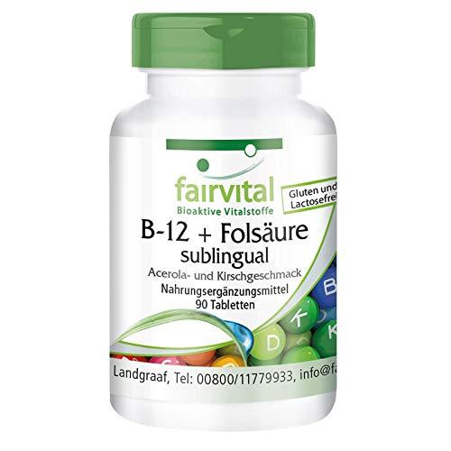 Vitamina B12 con Ácido Fólico - Metilcobalamina sublingual 500µg + Vitamina B9 100µg - Sabor a Cereza y Acerola - Rápida absorción - VEGANA - 90 Comprimidos - Calidad Alemana